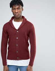 Only And Sons Shawl Neck Cardigan With Mix Yarn Detail Torny Port Red