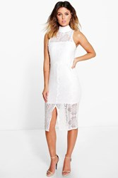 Boohoo Lace High Neck Front Split Midi Dress Ivory