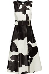Proenza Schouler Belted Calf Hair And Leather Dress Dark Brown