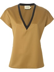Fausto Puglisi V Neck T Shirt Nude And Neutrals