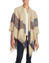 Vero Moda Striped Poncho Shawl Tan