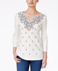 Karen Scott Embroidered Three Quarter Sleeve Top Only At Macy's Winter White