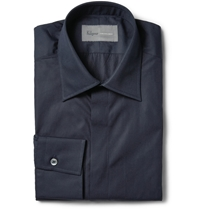 Kilgour Navy Cotton Poplin Shirt Blue