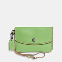 Coach 1941 Envelope Key Pouch In Glovetanned Leather Dark Gunmetal Pistachio