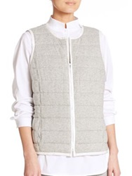 Lafayette 148 New York Jonah Reversible Quilted Vest Grey White