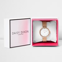 River Island Womens Daisy Dixon Rose Gold Tone Plate Watch