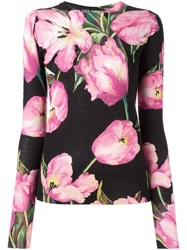 Dolce And Gabbana Tulip Print Jumper Black