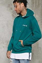 Forever 21 Embroidered Good Life Hoodie Green White