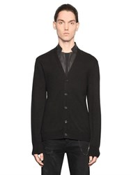The Kooples Nappa Trimmed Wool Blend Knit Cardigan