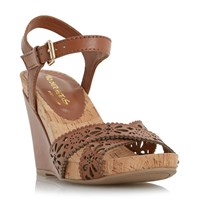 Head Over Heels Kamilla Laser Cut Cross Wedges Tan