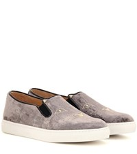 Charlotte Olympia Cool Cats Embroidered Velvet Slip On Sneakers Grey