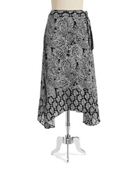 Jones New York Paisley Maxi Wrap Skirt Black White