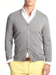 Slowear V Neck Cotton Cardigan Grey