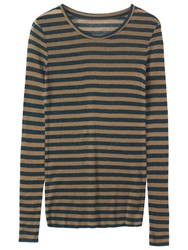 Toast Fine Wool Tencel Stripe T Shirt Sage Prussian Blue