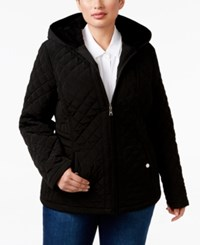 Laundry By Design Plus Size Faux Fur Lined Hooded Quilted Jacket Black