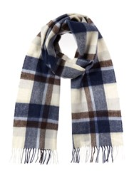 Barbour Cashmere Blend Country Plaid Scarf Navy