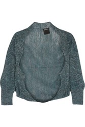 Anna Sui Metallic Open Knit Shrug Teal