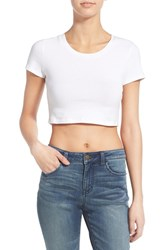 Junior Women's Bp. Stretch Cotton Crop Tee White