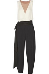 Lanvin Color Block Crepe Jumpsuit Black
