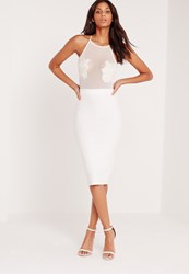 Missguided Applique Flower Mesh Midi Dress White White