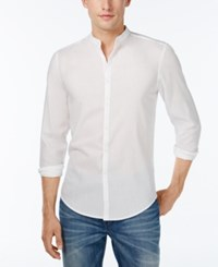 Inc International Concepts Men's Metallic Banded Collar Shirt Only At Macy's White