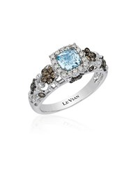 Le Vian Chocolatier Sea Blue Aquamarine Vanilla And Chocolate Diamond Ring