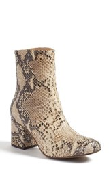 Free People Women's 'Cecile' Block Heel Bootie Taupe Snake Print Leather