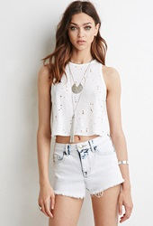 Forever 21 Bleach Wash Frayed Denim Shorts Light Denim