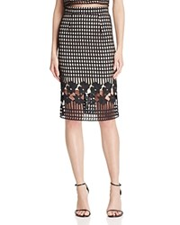 Aqua Floral Lattice Lace Pencil Skirt 100 Bloomingdale's Exclusive Black Nude