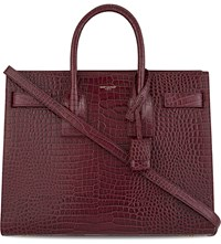 Saint Laurent Sac De Jour Small Crocodile Embossed Leather Tote Wine Purple