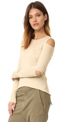525 America Cold Shoulder Cutout Crew Neck Sweater French Vanilla