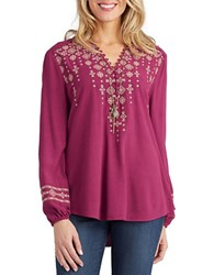 Democracy Embroidered Button Front Blouse Purple