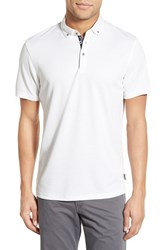 Men's Ted Baker London 'Missow' Modern Trim Fit Pique Polo White