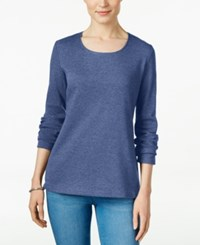 Karen Scott Long Sleeve Scoop Neck Top Only At Macy's Heather Indigo