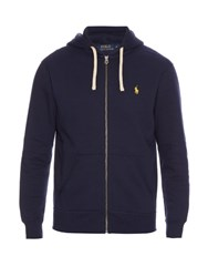 Polo Ralph Lauren Zip Up Cotton Blend Hooded Sweatshirt Navy