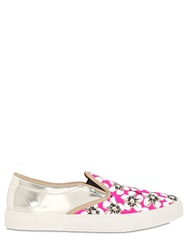 Kurt Geiger Floral Printed Canvas And Leather Sneakers Neon Pink