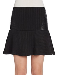 Saks Fifth Avenue Red Faux Leather Paneled Skirt Black