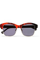 Preen Patchy D Frame Acetate And Metal Sunglasses Red