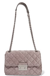 Michael Michael Kors Sloan Large Quilted Suede Shoulder Bag Taupe