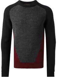 Relive Ribbed Colour Block Sweater Grey