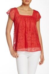 Love On A Hanger Lace Short Sleeve Tee Red
