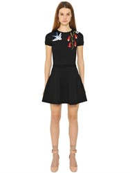 Red Valentino Bird Intarsia Viscose Knit Dress