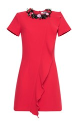 Msgm Short Sleeve Ruffle Mini Dress Red