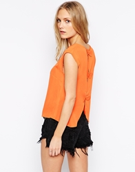 Influence Top With Slit Back And Bow Detail Orange