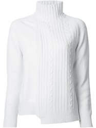 Astraet Asymmetric Cable Knit Jumper White