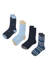 Lucky Brand Native Striped And Diamonds Crew Cut Socks Pack Of 4 Blue