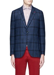 Isaia 'Sailor' Check Wool Silk Cashmere Boucle Blazer Blue