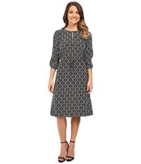 Pendleton Petite City Shift Dress Black Ivory Print Women's Dress Taupe