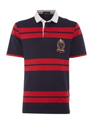 Howick Lincoln Stripe Slim Fit Short Sleeve Rugby Red