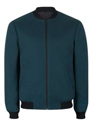 Topman Green Teal Jersey Formal Bomber Jacket